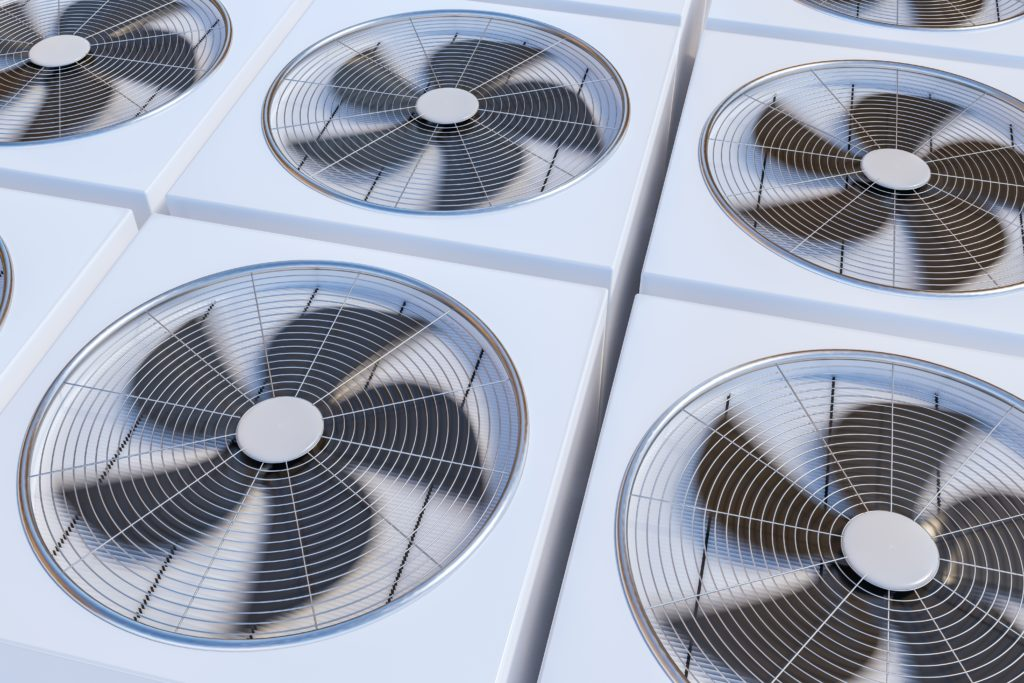 HVAC units (heating, ventilation and air conditioning). 3D rendered illustration.